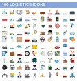100 logistics icons set flat style vector image vector image