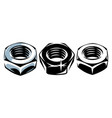 a set three metal nuts vector image