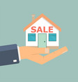 agents hand hold a house buying a house real vector image