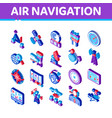 air navigation tool isometric icons set