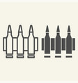 ammunition line and glyph icon bullets vector image vector image