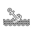 anchor maritime with waves vector image vector image