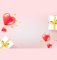 beautiful layout with gifts hearts confetti top vector image vector image
