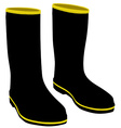 Black rubber boots vector image