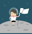 businesswoman planting white flag on moon vector image