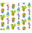 cacti flower background seamless pattern vector image vector image