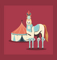 carnival circus horse and tent retro vector image vector image