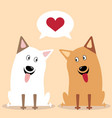 cartoon dog twosome vector image vector image
