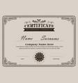 certificate flourishes elegant vintage template vector image