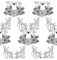 christmas deer outline seamless pattern vector image
