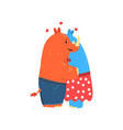 couple of rhinoceroses in love embracing each vector image vector image