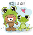 cute bear and frog vector image vector image