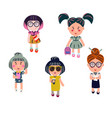 cute girls cartoon set vector image