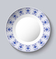 decorative porcellaneous dish with blue floral vector image vector image
