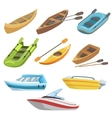 Different Types Of Boats Colorful Set vector image vector image