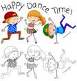 doodle happy dancer character vector image vector image