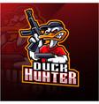 duck hunter esport mascot logo design vector image vector image