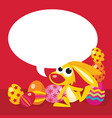 easter bunny with speech bubble copy space vector image vector image