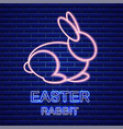 easter card with neon rabbit spring vector image