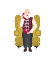 elderly bearded man sitting in comfortable vector image