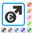 euro growth framed icon vector image vector image