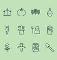 farm icons set collection of shovel bugbear vector image vector image