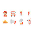 fire department icons in set collection for design vector image