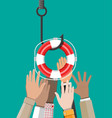 fishing hook with lifebuoy vector image