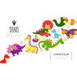 flat colorful cute prehistoric animals template vector image