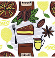 food cacao cake with lemon seamless pattern vector image