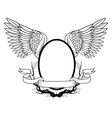 Frame with wings tattoo art design vector image vector image