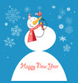 funny snowman with a bird vector image vector image