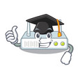 graduation router is installed in cartoon wall vector image vector image