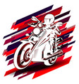 graphic drawing white silhouette racer on vector image