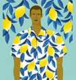 handsome man in a shirt with lemons print on a vector image