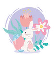 happy easter day white rabbit egg flowers folaige vector image