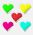 heart realistic sticker set vector image vector image