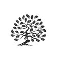 huge and sacred oak tree silhouette logo badge vector image vector image