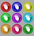 Human heart icon sign symbol on nine round vector image