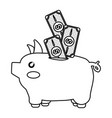 line cute pig to save cash money vector image vector image