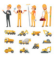 male and female characters builders and vector image