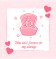 marriage ring box valentine card love text icon vector image vector image