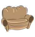old brown sofa on white background vector image vector image