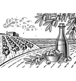 Olive harvest landscape black and white vector image vector image