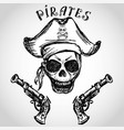 pirate skull with hat and pistols vector image