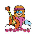 pretty hippie woman with guitar and cloud vector image vector image