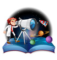 Scientist looking at the telescope vector image vector image