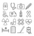 set medical line icon vector image vector image