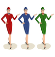 Set of 3 Stewardesses Dressed In Uniform With vector image