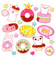 set of cute donuts icons vector image vector image